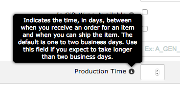 Amazon Seller Central Production Time Field