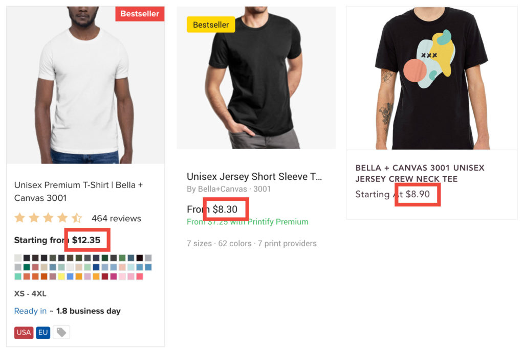 Printful vs Printify vs Gooten Price Comparison