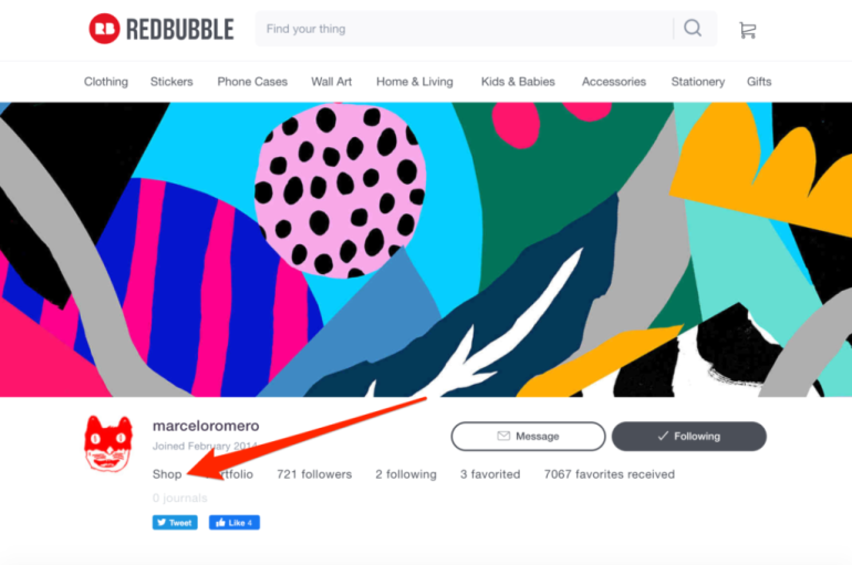 Redbubble Shop Storefront