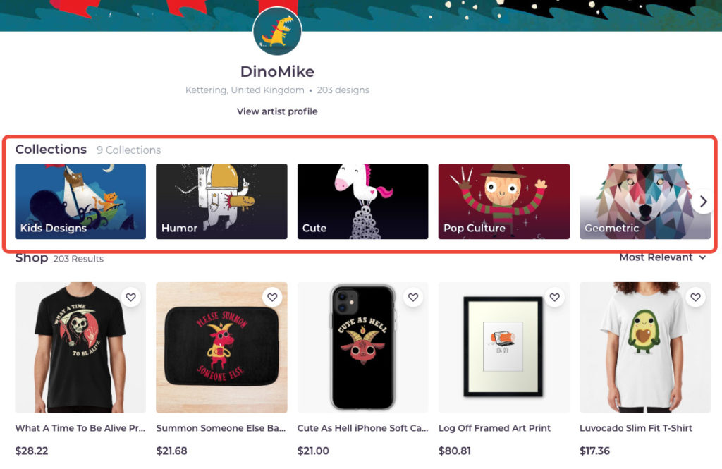 Redbubble Collections