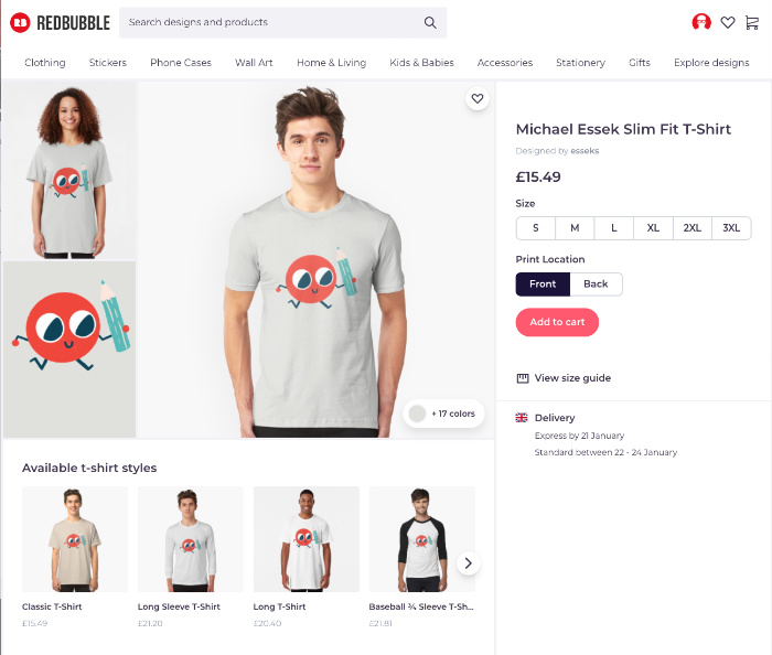 Redbubble Product Page
