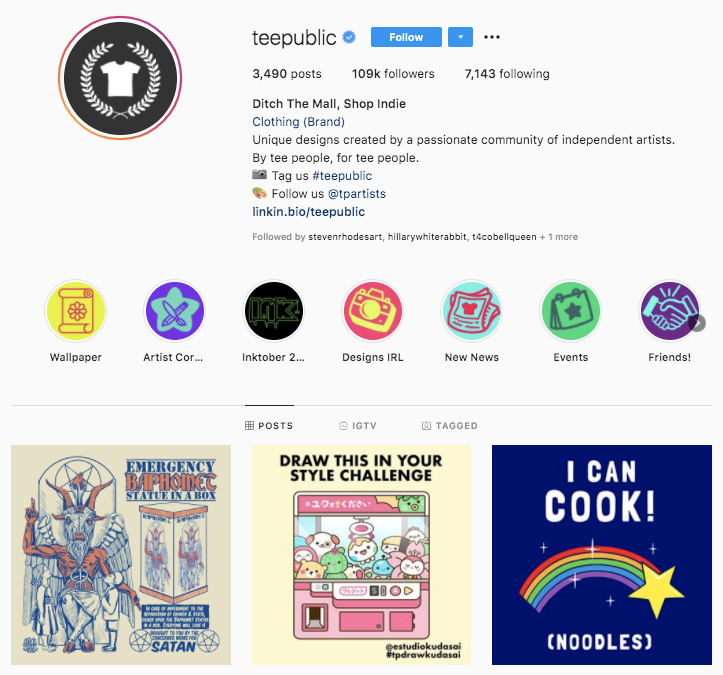 Teepublic Instagram