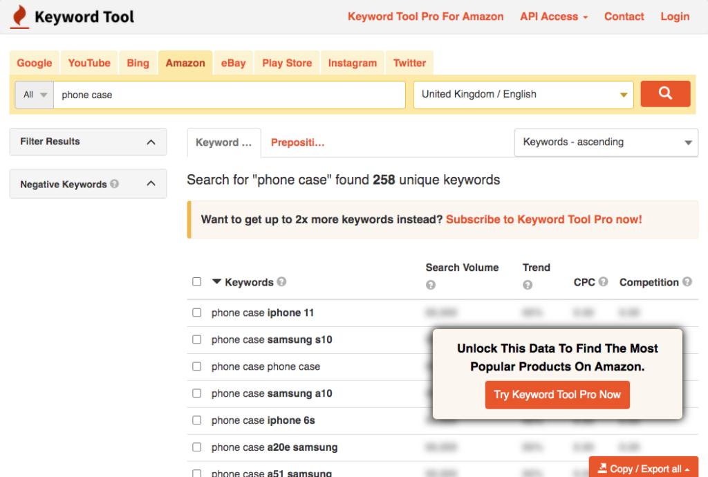 Keyword tool phone case search amazon